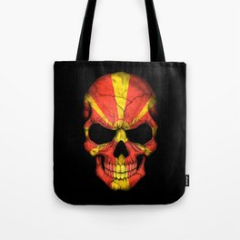 Dark Skull with Flag of Macedonia Tote Bag