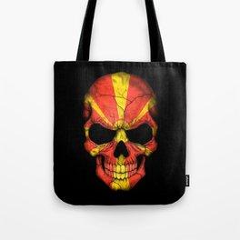 Dark Skull with Flag of Macedonia Tote Bag
