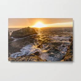 In Waves - Waves Crashing Into Rocks at Sunset In Big Sur Metal Print