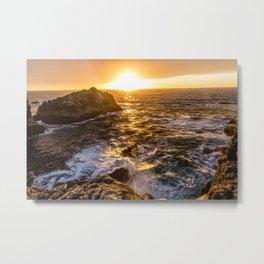 In Waves - Waves Crashing Into Rocks at Sunset In Big Sur Metal Print