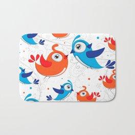 Two Bird Lovers Orange and Blue  Pattern Bath Mat