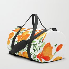 Watercolor California poppies Duffle Bag