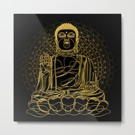 Golden Buddha on Black Metal Print