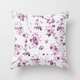 Purple Floral and Minimal Thin Black and White Stripes Throw Pillow