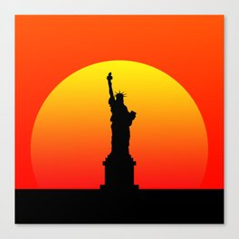 Sunset and Statue of Liberty in New York Canvas Print
