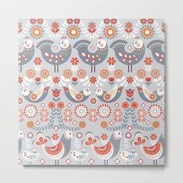 Seamless pattern with flowers. The Scandinavian style. Folk art. Metal Print