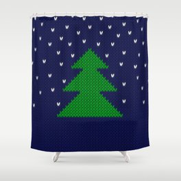 Knitted Christmas tree Shower Curtain