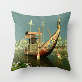 Ancient Egyptian Barge Throw Pillow