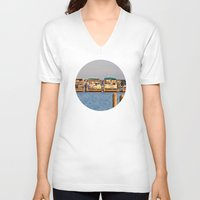 boats V-neck T-shirts featuring Docked Boats  by Chris Klemens