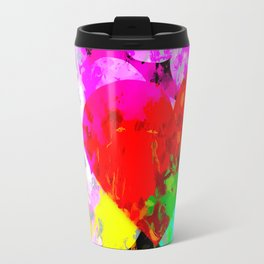 red heart shape pattern with colorful painting abstract in pink blue green yellow Travel Mug