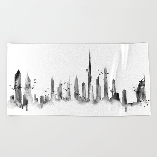 White Dubai Skyline Beach Towel