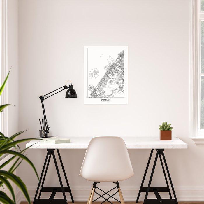 Dubai White Map Poster