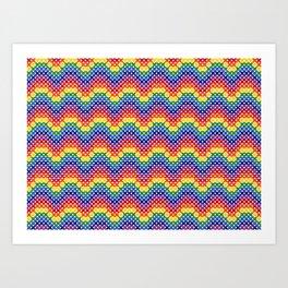Cross stitched rainbow waves Art Print