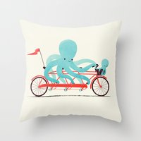 bike Throw Pillows featuring My Red Bike by Jay Fleck