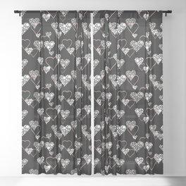 Polka dot pattern, retro, black and white Sheer Curtain
