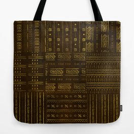 Gold African Tribal Pattern on rich brown texture Tote Bag