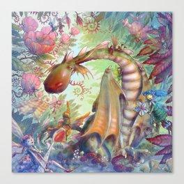 Nursing Fairies and a Sick Dragon Canvas Print