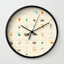 Federal states of the USA overview Wall Clock