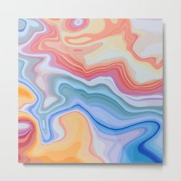 Liquid Rainbow Agate Gem Metal Print