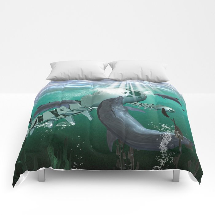 Mechanical fish and dolphins Comforters