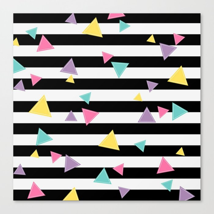 80's Black White Colorful Triangle Canvas Print