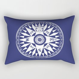Nautical Compass   Navy Blue and White Rectangular Pillow