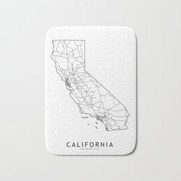 California White Map Bath Mat
