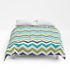 Chevron Navy Lime Turquoise Pattern Comforters