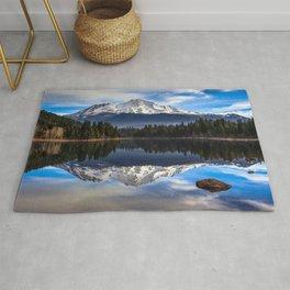 Mount Shasta Morning Reflection Rug