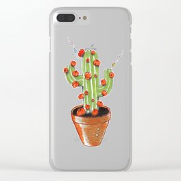 Cactus blooming with pumpkins, original copic drawing Clear iPhone Case