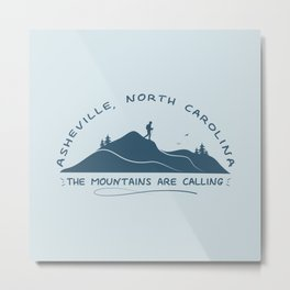 Asheville - The Mountains Are Calling - AVL 10 Greyblue Metal Print