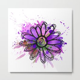 GC031-7 Colorful watercolor doodle flower green and purple Metal Print