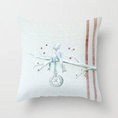 Winter bird on linen Throw Pillow