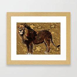 king Lion digital art  brown savana Framed Art Print