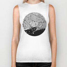 Barcelona city map black and white Biker Tank