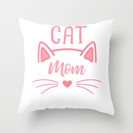 Cat Mom Heart Nose Ears and Whiskers pw Throw Pillow