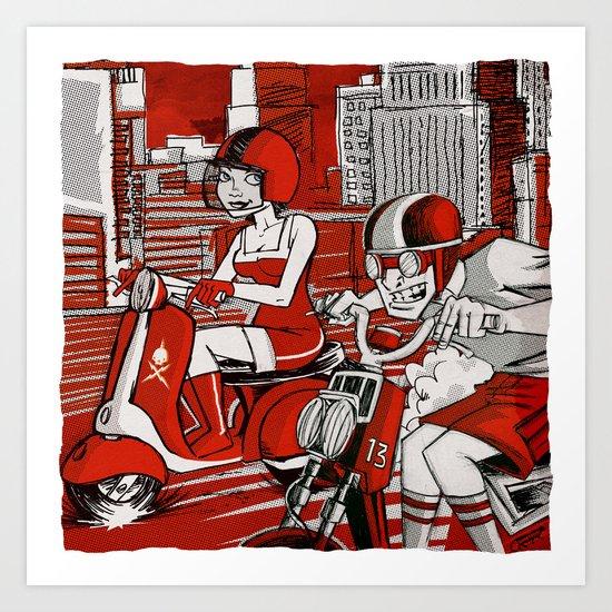 Scootin' Red Remix Art Print