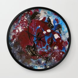 red explosion abstract paint Wall Clock