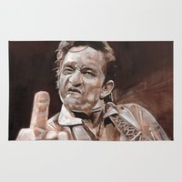 johnny cash Area & Throw Rugs featuring Johnny Cash by Ray Stephenson