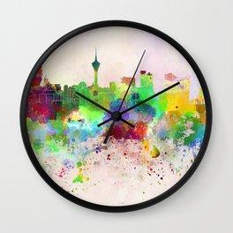 Macau skyline in watercolor background Wall Clock