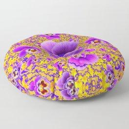 MODERN ART PURPLE-GOLDEN GARDEN PANSIES Floor Pillow