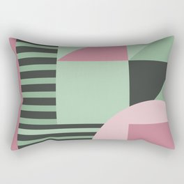 Art Deco Composition Pink and Green #4 Rectangular Pillow