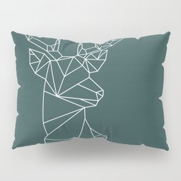 Geometric Stag (White on Slate) Pillow Sham