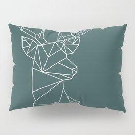 Geometric Stag (White on Slate) Pillow Sham