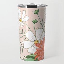 Cosmos and Dahlia on Pink Travel Mug