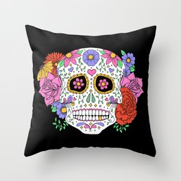 Sugar Skull with Flowers on Black Throw Pillow
