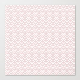 Elegant chic blush pink white scallop wave pattern Canvas Print