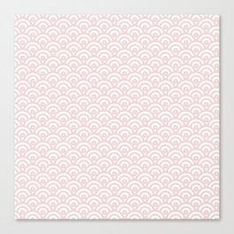 Elegant chic blush pink white scallop wave pattern Canvas Print