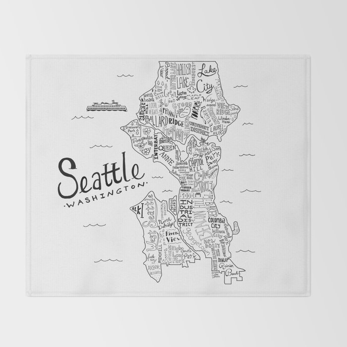 Seattle Map Throw Blanket by clairelordon Society6