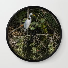 Great White Egret on a Branch Wall Clock